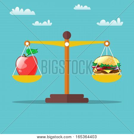Hamburger and apple on scales. Healthy lifestyle concept. Vector design