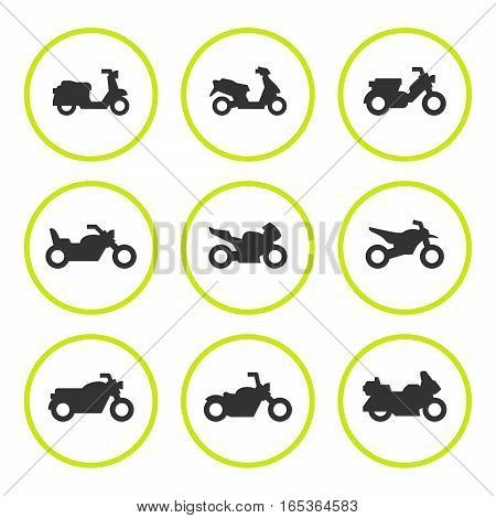 Set round icons of motorcycles isolated on white. Vector illustration