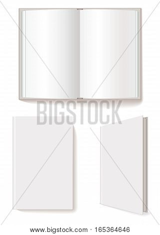 Open book, closed book, blank book cover three-quarter. Vector illustration. Isolated on white background. Set