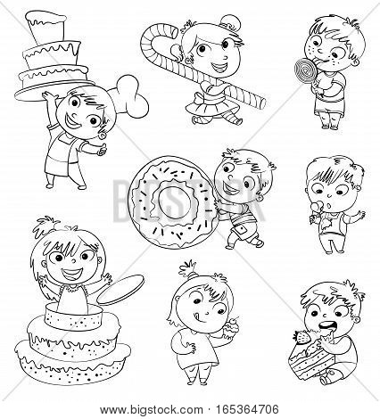 Cute toddler boy eating ice-cream. Boy soiled himself cake. Pastry chef brings sweetness. Pretty girl jump out of a large birthday cake. Funny cartoon character. Vector illustration. Coloring book