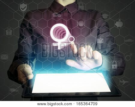 Image of a girl with tablet in her hands and with female symbol. Concept internet for dating for helping women etc.
