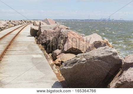 Trail Over Breakwater At Cassino Beach