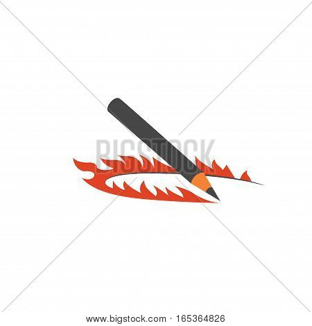 fire pencil logo, color flat style isolated vector illustration