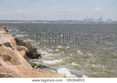 Rio Grande Port And Waves In Breakwater At Cassino Beach
