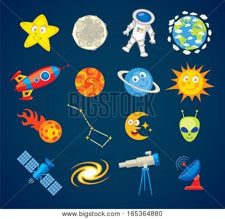 Trendy astronomy icons. Vector illustration. Funny cartoon character. Set