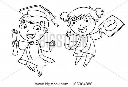 Graduate. Funny cartoon character. Vector illustration. Coloring book