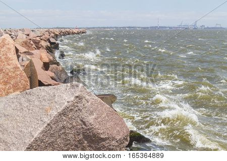 Waves In Breakwater At Cassino Beach