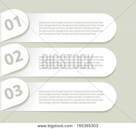 Modern design minimal style infographic template. In a curved paper. Sequence number. Vector illustration. Set