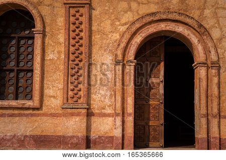 Entrance of the Jesuit mission church at the UNESCO world heritage site in San Jose de Chiquitos, Bolivia
