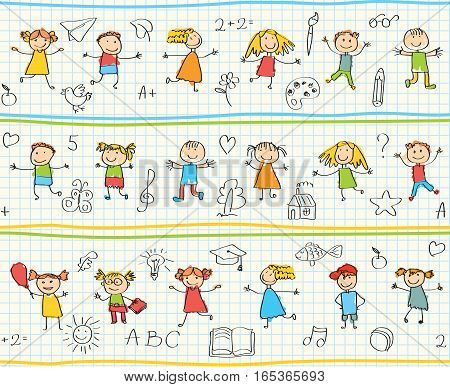 Children's drawings in the school notebook. Seamless ornamental pattern for kids