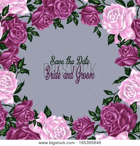Hand drawn invitation cards with flowers roses. Wedding vector illustration