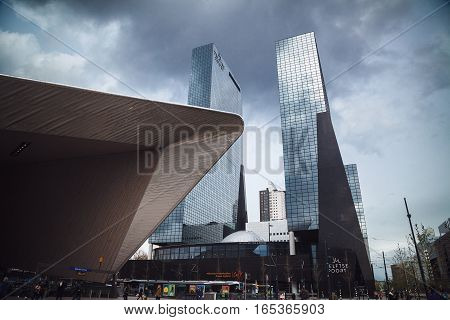Rotterdam, Netherlands - April 29, 2016: Modern Central Station.