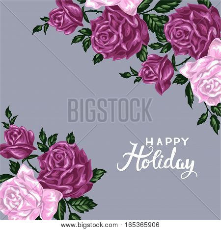 Hand drawn invitation cards with flowers roses. Happy holiday vector illustration