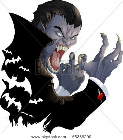 evil vampire in a black coat over a white background