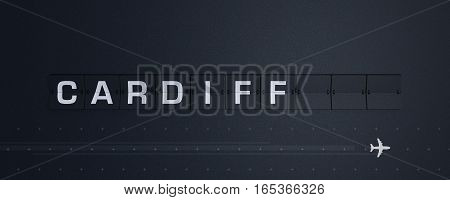 3D Rendering retro Flip Board Capital cardiff