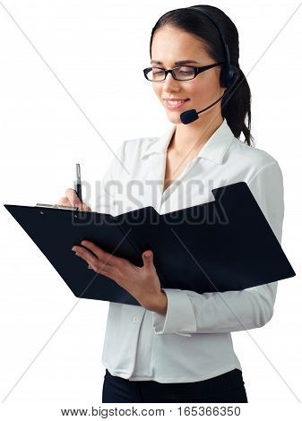 Woman Talking on Headset and Writting on Clipboard - Isolated