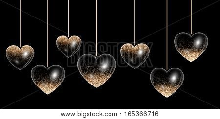 Set hearts with golden highlights on a black background