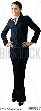 Friendly Businesswoman Standing with Hands on Hips - Isolated