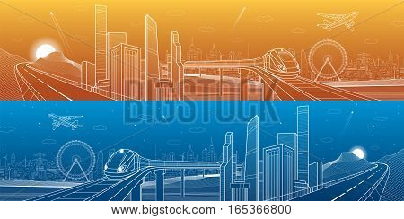 Highway in the mountains, city and transport mega panorama, train on the bridge, skyline, white lines landscape, day and night town, airplane fly, vector design art