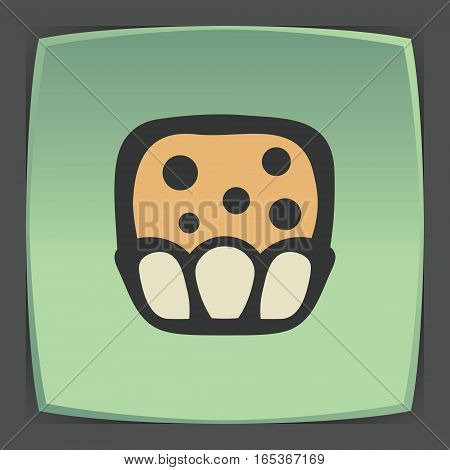 Vector outline sweet muffin food icon on green flat square plate. Elements for mobile concepts and web apps. Modern infographic logo and pictogram.