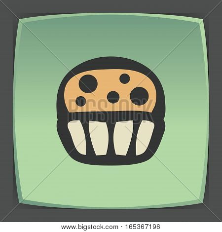 Vector outline cupcake with cream food icon on green flat square plate. Elements for mobile concepts and web apps. Modern infographic logo and pictogram.