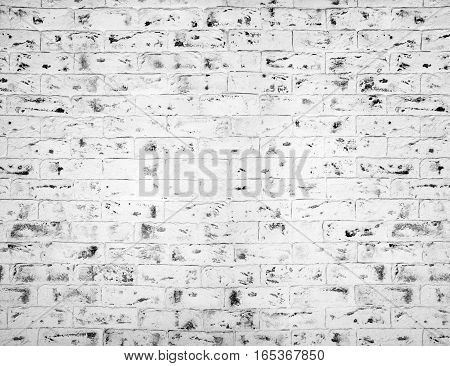 White brick wall. Gray grunge Horizontal background.