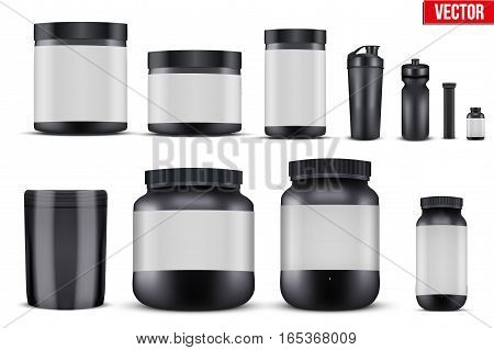 Big Set of Template Sport Nutrition Containers. Plastic Jars and foil package and drink bottle. Black color. Vector Illustration isolated on background