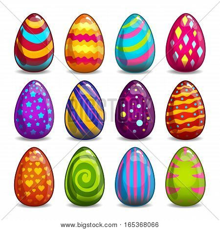 Big set with cartoon easter eggs. Holiday illustration