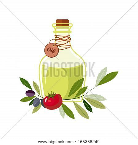 Olive Oil In Glass Bottle With Olives And Tomato Laying Around, Farm And Farming Related Illustration In Bright Cartoon Style. Organic And Natural Product Symbol Colorful Vector Illustration.