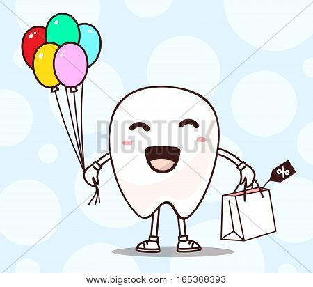 Vector Illustration Of Smile White Tooth With Shopping Package, Air Balloons In Hand On Blue Backgro