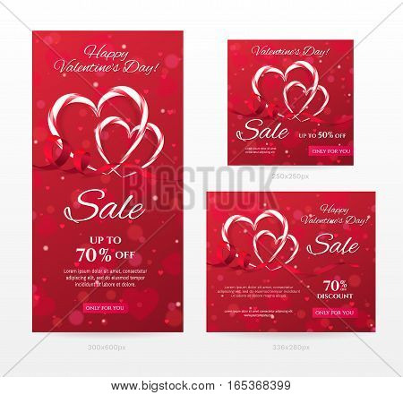 Set of elegant sale banners of different sizes for Happy Valentine's day with heart shaped candy canes, red ribbon. Romantic template for discount offer. Vector background with hearts, effect bokeh.