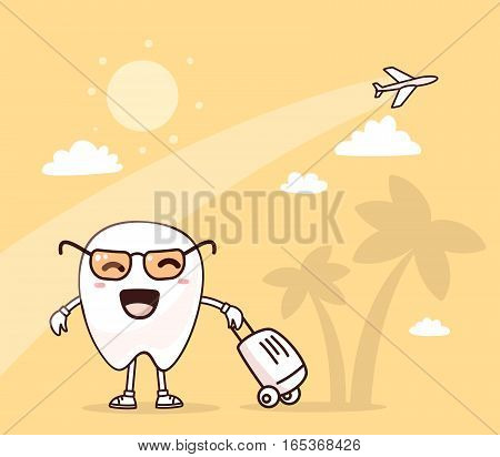 Vector Illustration Of Smile White Tooth With Suitcase On Yellow Background With Palm Trees And Airp