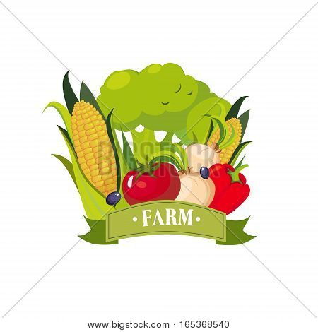 Set Of Fresh Vegetables With Banner Saying Farm, Farm And Farming Related Illustration In Bright Cartoon Style. Organic And Natural Product Symbol Colorful Vector Illustration.