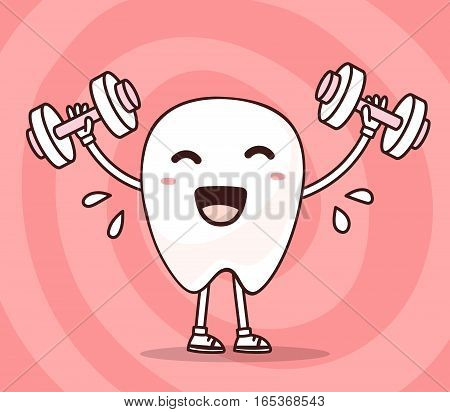 Vector Illustration Of Smile White Tooth Lifts Dumbbells On Pink Background. Fitness Cartoon Tooth,