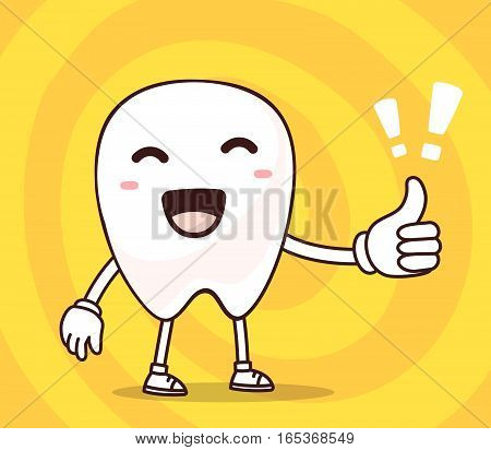 Vector Illustration Of Smile White Tooth With Thumb Up On Yellow Background. Creative Cartoon Tooth,