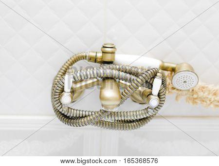 Bathtub shower spray hose, closeup front shot