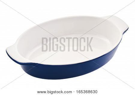 Empty oval baking dish for gratin casserole cut out