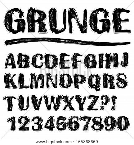 Grunge scratchy uppercase black and white alphabet set numbers question mark exclamation mark lowercase set available in portfolio too