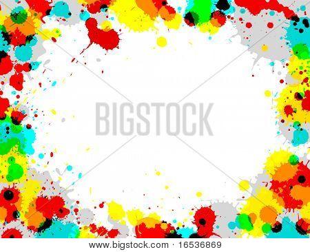 Illustration of multi-colored paint splashes on white background.