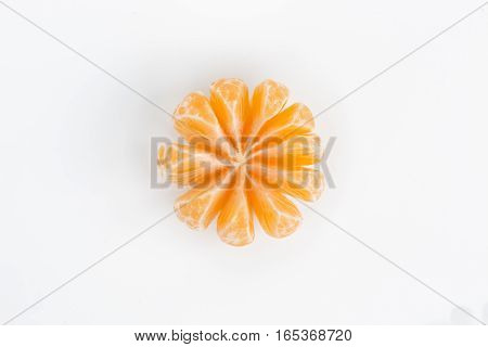 Peeled Orange Slices Mandarin Isolated On White Background