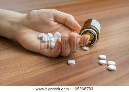 A Lot Of Pills Spilled On Table. Overdose Concept.