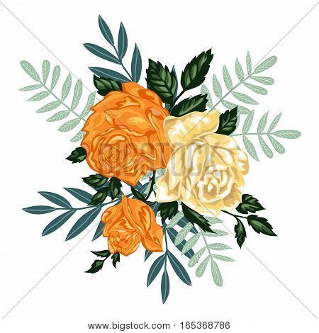 Isolated hand drawn bunch of yellow roses, vector illustration.