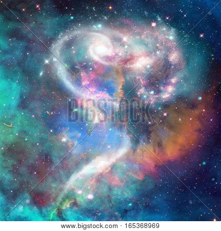 Spiral galaxy in deep space. Elements of this image furnished by NASA.