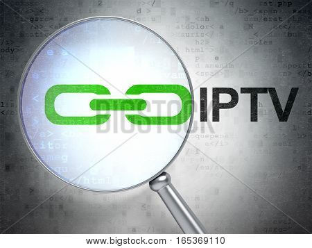 Web design concept: magnifying optical glass with Link icon and IPTV word on digital background, 3D rendering
