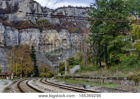 View toward junction at old railway station, Iskar defile, Lakatnik, Bulgaria