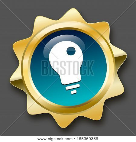 Electricity seal or icon with light bulb symbol. Glossy golden seal or button with turquoise color.