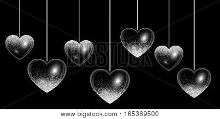 Set of hearts in silver style with light effects