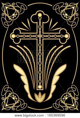 Rich decorated funereal motif with cross art deco ornamets symmetrical filigree design on black background decoration for dignified Christian burial