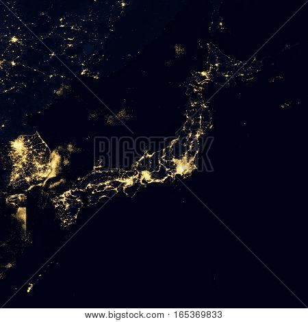 City lights on world map. Japan. Elements of this image are furnished by NASA