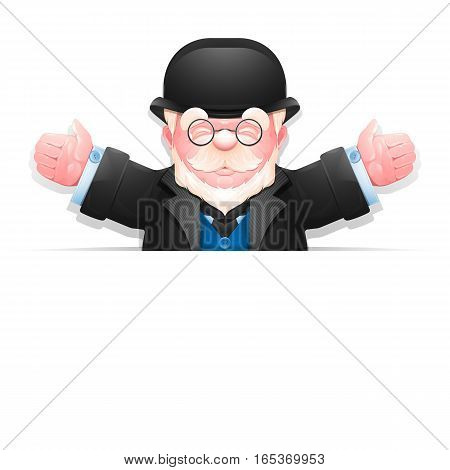 Senior man peeping from behind blank banner isolated over white. Friendly elderly gentleman with arms wide open. Vector illustration 10 EPS